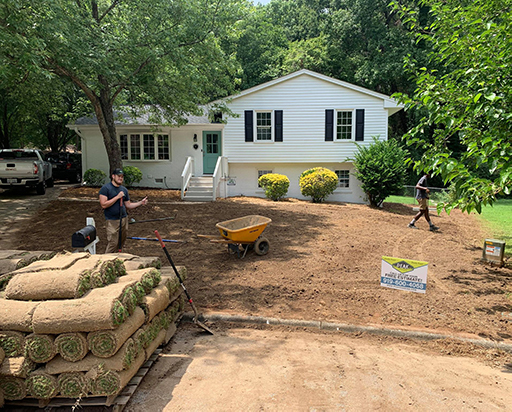 Installation of Sod by Sod Installation Services Team